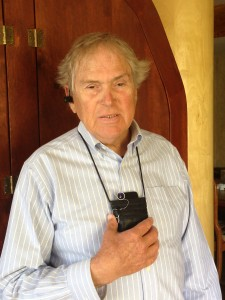 Ed Gallagher wearing a bluetooth earpiece and the Genoa pouch with wide-angle lens